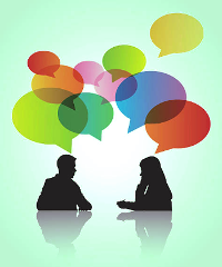 Image shows silhouettes of the torsos of a male and female with multicolored speech bubbles