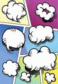 Image shows speech bubbles on a comic strip page