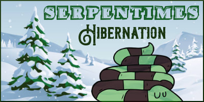 Image shows a sleeping snake on a snowy background for the Hibernation issue of SerpenTimes