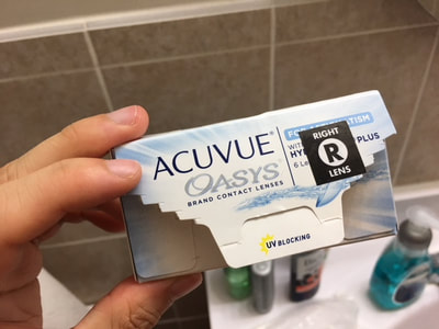 Box of Acuvue Oasys contact lenses