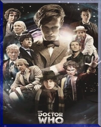 Doctor Who poster showing eleven incarnations of the Doctor