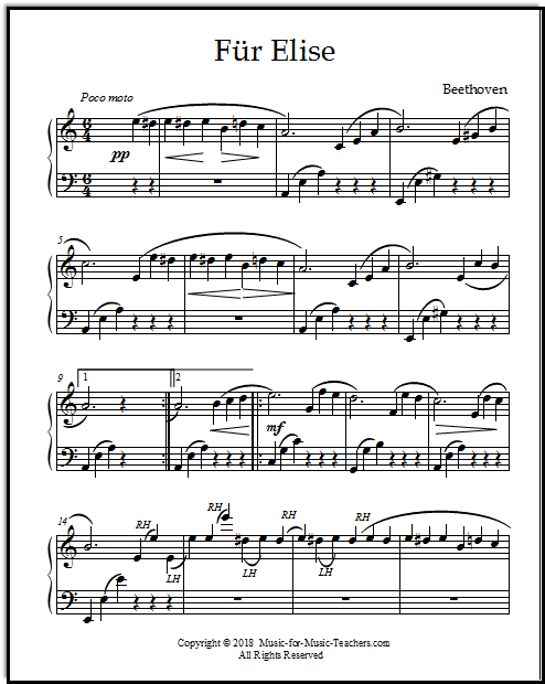 Sheet music for Für Elise