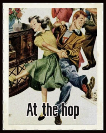 "Illustration of a couple dancing. Caption reads ""At the hop"""