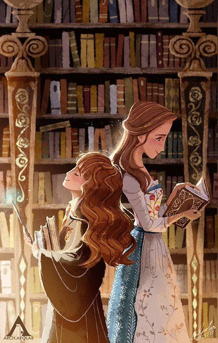 Drawing of Hermione and Belle back to back in a library