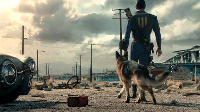 Fallout avatar with dog walking into a deserted town