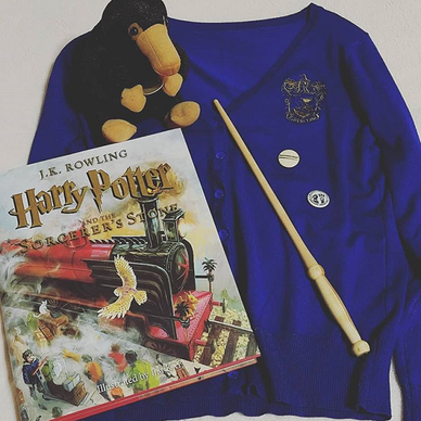 Illustrated Harry Potter and the Sorcerer's Stone, Ravenclaw cardigan, stuffed Niffler, and wand